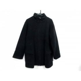 【中古】 ヨシエイナバ YOSHIE INABA コート サイズ9 M レディース 黒 白 ニット/冬物