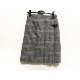 【中古】 レリアン Leilian スカート サイズ7 S レディース グレー ダークグレー チェック柄