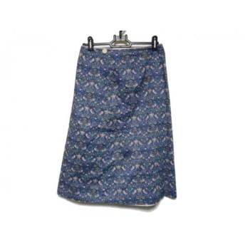 【中古】 ロイスクレヨン 巻きスカート サイズM レディース 美品 ネイビー ライトグリーン マルチ