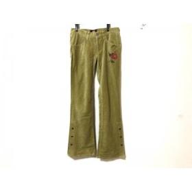 【中古】 マッシュマニア パンツ サイズ1 S レディース ライトグリーン レッド 花柄/刺繍/裾ボタン