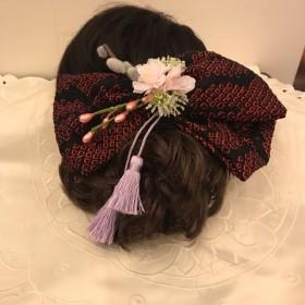 絞り染 リボン髪飾り 八重桜 タッセル付き