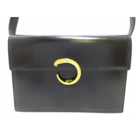 【中古】 カルティエ Cartier ショルダーバッグ パンテール 黒 レザー