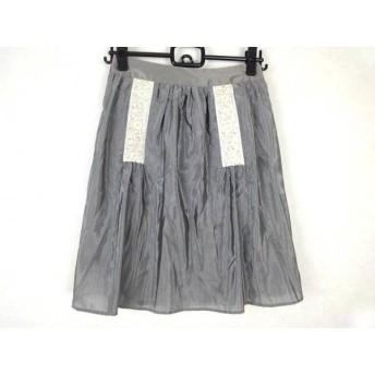 【中古】 マルティニーク スカート サイズ1 S レディース グレー アイボリー 刺繍/フラワー/ビーズ