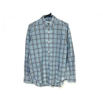 【中古】 シンゾーン Shinzone 長袖シャツ サイズ38 M メンズ 美品 白 ライトブルー マルチ チェック柄
