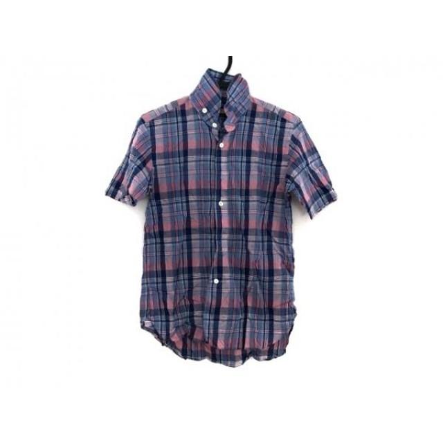 【中古】 ハバーサック HAVERSACK 半袖シャツ サイズM メンズ ネイビー ピンク チェック柄