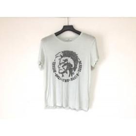 【中古】 ディーゼル DIESEL 半袖Tシャツ メンズ ライトブルー シルバー 黒 メタル発泡プリント