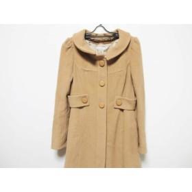 【中古】 キスミス Xmiss コート サイズ35 レディース ブラウン 襟着脱可/冬物