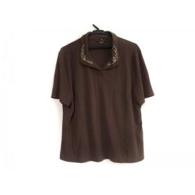 【中古】 レリアン 半袖ポロシャツ サイズ13 L レディース ダークブラウン ピンク マルチ 刺繍/ビーズ