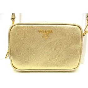 【中古】 プラダ PRADA ショルダーバッグ 美品 - 1N1674 ゴールド ミニバッグ/ストラップ取外し可 レザー