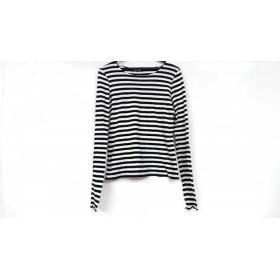【中古】 アニエスベー agnes b 長袖Tシャツ サイズT2 レディース 美品 黒 白 ボーダー