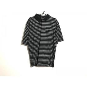 【中古】 バーバリーロンドン Burberry LONDON 半袖ポロシャツ サイズLL メンズ 黒 白 ボーダー