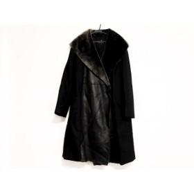 【中古】ダブリュービー wb コート サイズ40 M レディース 黒xダークブラウン ファー/レザー/冬物