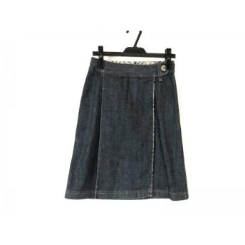 【中古】 バーバリーロンドン Burberry LONDON 巻きスカート サイズ36 M レディース ネイビー デニム