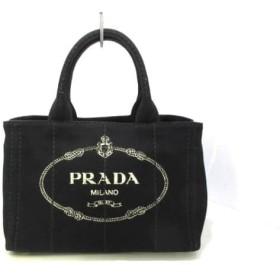 【中古】 プラダ PRADA トートバッグ CANAPA 1BG439 黒 アイボリー キャンバス