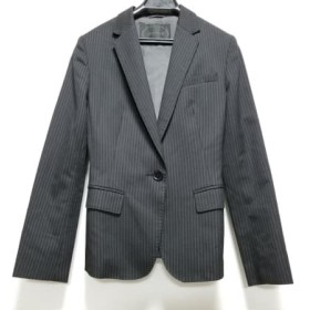 【中古】 アンタイトル UNTITLED ジャケット サイズ1 S レディース 黒 肩パッド/ストライプ
