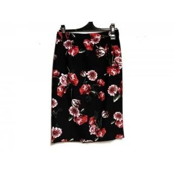 【中古】ピンキー&ダイアン Pinky & Dianne スカート サイズ38 M レディース 美品 黒xレッドxマルチ 花柄