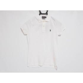 【中古】 ポロラルフローレン 半袖ポロシャツ サイズS レディース 美品 白 ダークネイビー