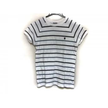 【中古】 ジムフレックス 半袖Tシャツ サイズ12 L レディース 白 ダークネイビー マルチ ボーダー