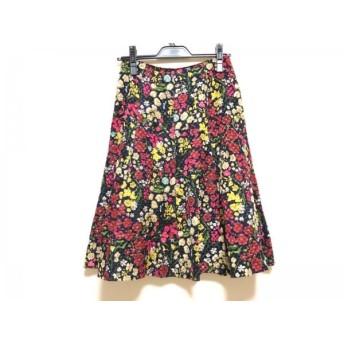 【中古】 シビラ Sybilla スカート サイズF レディース ネイビー ピンク マルチ 花柄