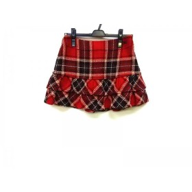 【中古】 バーバリーブルーレーベル ミニスカート サイズ38 M レディース 美品 レッド グリーン マルチ