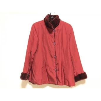 【中古】 エンバ EMBA コート サイズ15 L レディース レッド ファー/シルク/冬物/Couture Emba/ファー