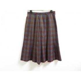【中古】 レリアン スカート サイズ9 M レディース ダークグレー ブルー マルチ プリーツ/チェック柄