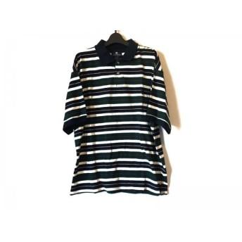 【中古】 ジバンシー 半袖ポロシャツ サイズL メンズ ネイビー アイボリー グリーン マルチ ストライプ