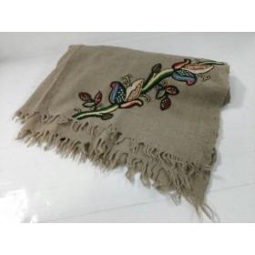 【中古】 グレースコンチネンタル GRACE CONTINENTAL ストール(ショール) ベージュ レッド マルチ 刺繍