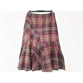 【中古】 スキャパ Scapa スカート サイズ40 XL レディース ピンク グリーン マルチ チェック柄