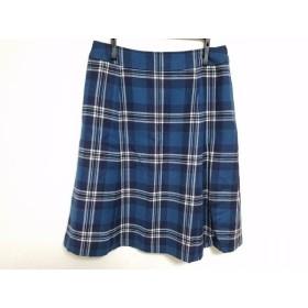 【中古】 ヨークランド YORKLAND スカート サイズ11 M レディース ブルー 白 ネイビー チェック柄