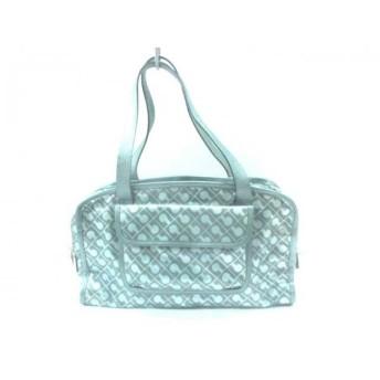【中古】 ゲラルディーニ ハンドバッグ 美品 ライトグリーン グレー PVC(塩化ビニール) レザー
