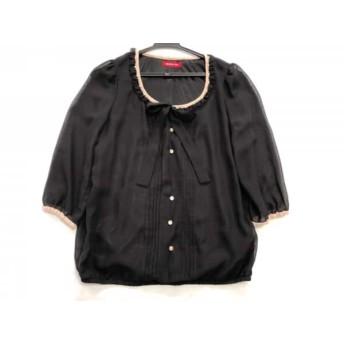 【中古】 アプワイザーリッシェ 七分袖カットソー サイズ2 M レディース 黒 ベージュ ビーズ