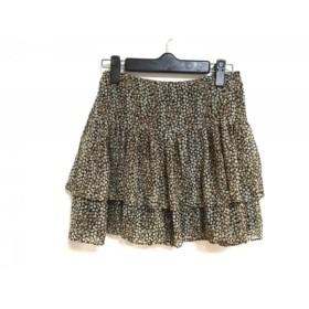 【中古】 ジュエルチェンジズ スカート サイズ34 S レディース 黒 アイボリー マルチ 花柄
