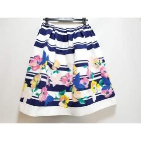 【中古】 チェスティ Chesty スカート サイズ1 S レディース 白 ブルー マルチ 花柄/ボーダー