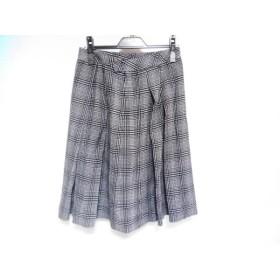 【中古】 レリアン Leilian スカート レディース 美品 黒 アイボリー NEMIKA/プリーツ/ドット柄