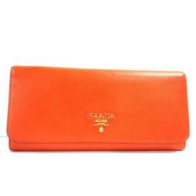 【中古】 プラダ PRADA 長財布 - オレンジ サフィアーノレザー