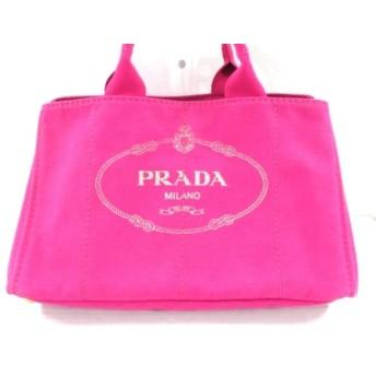 【中古】 プラダ PRADA トートバッグ CANAPA BN1872 ピンク アイボリー キャンバス