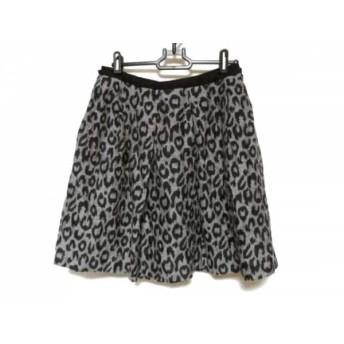 【中古】 アドーア ADORE スカート サイズ36 S レディース 美品 グレー 黒 豹柄
