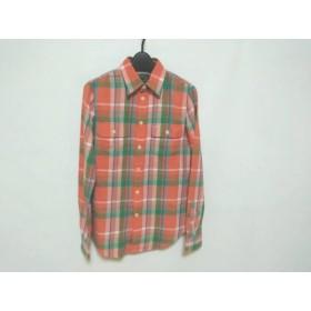 【中古】 ポロラルフローレン 長袖シャツ サイズs S メンズ 美品 オレンジ グリーン マルチ チェック柄