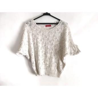 【中古】 アプワイザーリッシェ 半袖セーター サイズ2 M レディース 美品 白 フェイクパール/ビーズ/ラメ