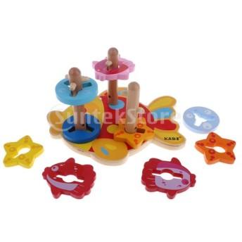 Sharplace 子供の木のおもちゃの形状の色の並べ替えおもちゃの幾何学木製のブロックmontessoriのおもちゃ