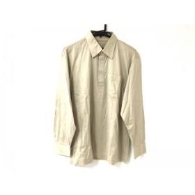 【中古】 ダックス DAKS 長袖ポロシャツ サイズL メンズ 美品 イエロー ベージュ マルチ チェック柄