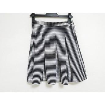 【中古】 ローリーズファーム LOWRYS FARM スカート サイズF レディース 白 黒 ボーダー