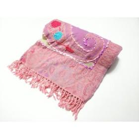 【中古】 トプカピ TOPKAPI ストール(ショール) ピンク パープル マルチ 花柄/刺繍 ウール