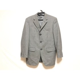 【中古】 ダーバン DURBAN ジャケット メンズ 黒 アイボリー 肩パッド/千鳥格子/ネーム刺繍