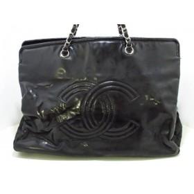【中古】 シャネル CHANEL トートバッグ - 黒 チェーンショルダー/シルバー金具 PVC(塩化ビニール)