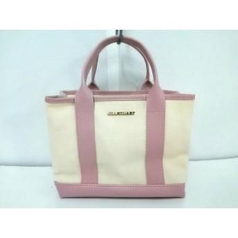 【中古】 ジルスチュアート JILL STUART ハンドバッグ 美品 アイボリー ピンク キャンバス 合皮