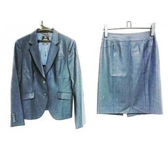 【中古】 ニジュウサンク 23区 スカートスーツ サイズ38 M レディース 美品 黒 ダークグレー ストライプ