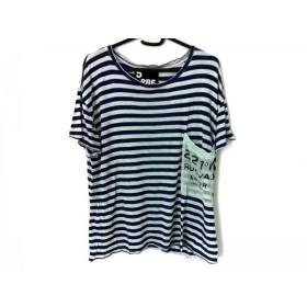【中古】 ファイブプレビュー 半袖Tシャツ サイズ0 XS レディース ライトブルー ネイビー ボーダー