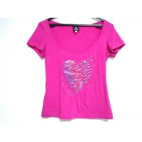 【中古】 ヴェルサーチジーンズ 半袖Tシャツ サイズXS レディース ピンク ブルー ハート/スパンコール